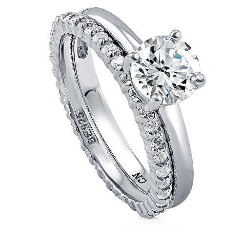 BERRICLE Rhodium Plated Sterling Silver Round Cubic Zirconia CZ Solitaire Engagement Wedding Ring Set 1.56 CTW Size 4.5
