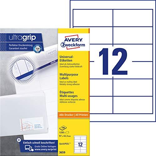 AVERY Zweckform 3659 Adressaufkleber (1.200 Klebeetiketten, 97x42,3mm auf A4, Papier matt, bedruckbare Absenderetiketten, selbstklebende Adressetiketten mit ultragrip) 100 Blatt, weiß