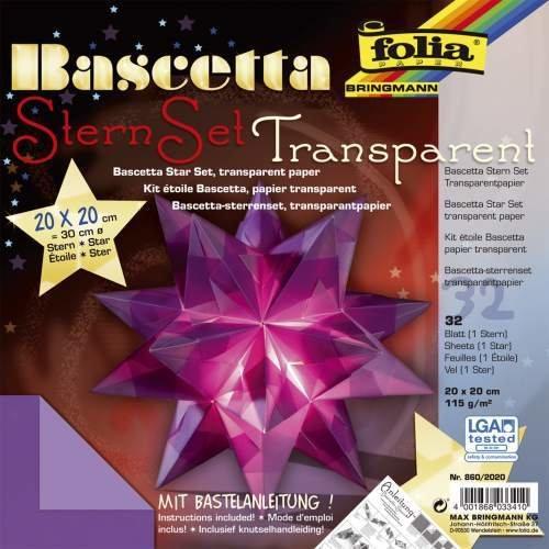 Bascetta Stern Bastelset Transparentpapier 115g/m² 20x20 cm 32 Blatt violett Folia 860/2020