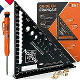 Escuadra de carpintero de metal de aluminio [+CRYON + Instrucciones FR] Guía de raíl / herramientas de carpintero / regla de ángulo / Carpintero Raportador Trusquin Multi Angular 45 90 Grados