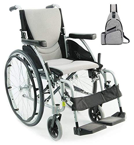 Karman S-Ergo 115 Ultra Lightweight Ergonomic Wheelchair | Seat Size 16' X 17' | Swing Away Footrest | Quick Release Wheels in Silver & Grey Medical Utility Bag!