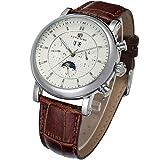 Forsining Men's Automatic Movement Tourbillion Day Calendar Brand Leather Strap Wrist Watch FSG553M3S1
