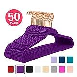 MIZGI Premium Velvet Hangers (Pack of 50) Heavyduty - Non Slip - Velvet Suit Hangers Dark Purple - Copper/Rose Gold Hooks,Space Saving Clothes Hangers