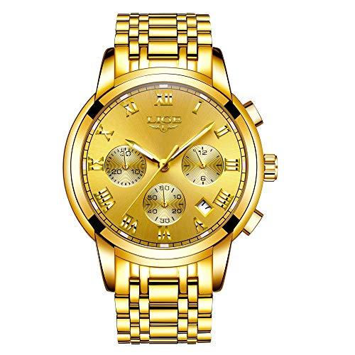 LIGE Relojes de Pulsera Acero Inoxidable Negocios Cuarzo Analógico Relojes Elegantes Dorados Moda Vestir Reloj