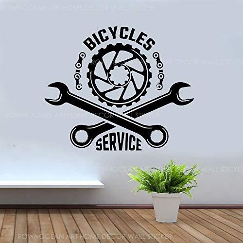 Tienda de servicio de bicicletas Calcomanía bicicleta carreras deportes llave herramientas de engranaje reparación tienda dormitorio ventana puerta decoración del hogar pared pegatina de pared ar