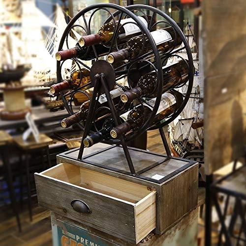 Rack de Vino Molino de Viento Forma Estilo Industrial Moda Gran Hierro Forjado +ZeTianShangMaoBu
