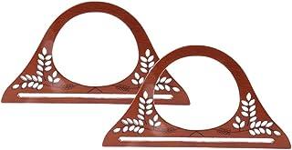 2 Piezas Manija Redonda de Madera Tallado de Flores Hueco Vintage para Fabricación de Bolso de Ganchillo Cartera