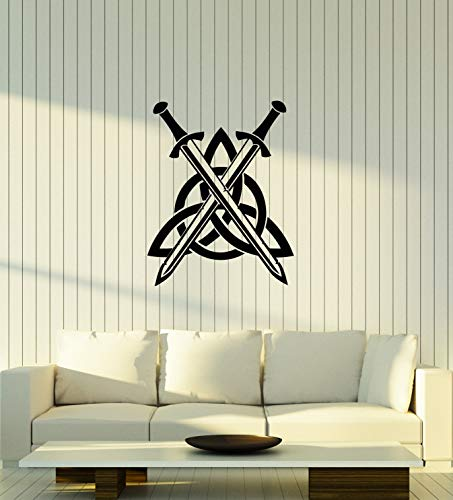 Vinyl Wall Decal Celtic Knot Swords Irish Ireland Art Room Interior Stickers Mural Large Decor (ig5860) Black
