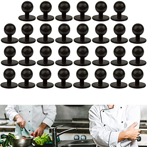 Bottoni Rotondi per Giacca da Chef, Set di Ricambio da 30 Pezzi, Bottoni da Cuoco A Pallina con Diametro Della Testa di 12.5 mm, Dimensioni 19 x 12.5 x 18 mm, Bottoni Neri Per Divisa Da Cucina