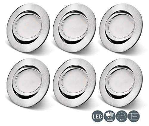 OPPER 6x Foco empotrable LED orientable,Plafón Empotrable 3000K 5W 400LM Blanco Cálido ultrafina,45 ° ajustable,230V IP23 Níquel metálico no regulable[Clase de eficiencia energética A++]
