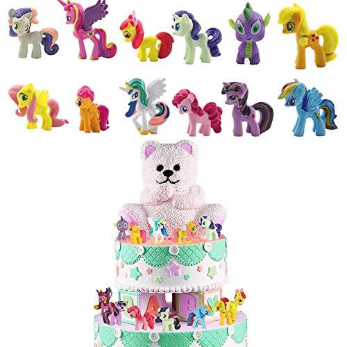 Unicornio decoración de pastel de cumpleaños unicornio mini juego de caracteres niños pastel de dibujos animados sombrero superior decoración de fiesta de niña 2 juegos