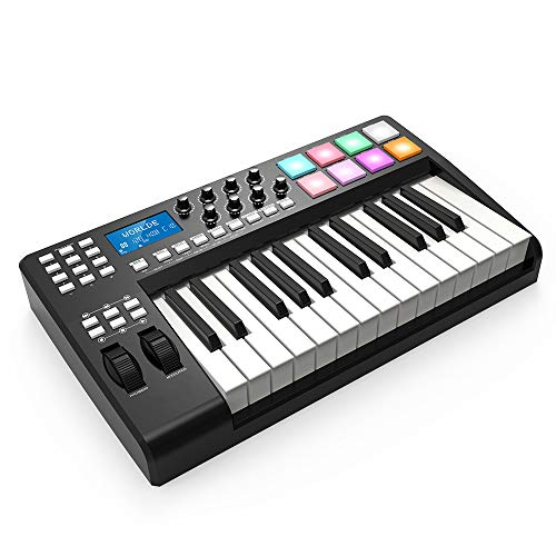 Lowest Prices! 25-Button Ultra-Portable USB MIDI Keyboard Controller 8 Colorful Backlit Trigger Pads...