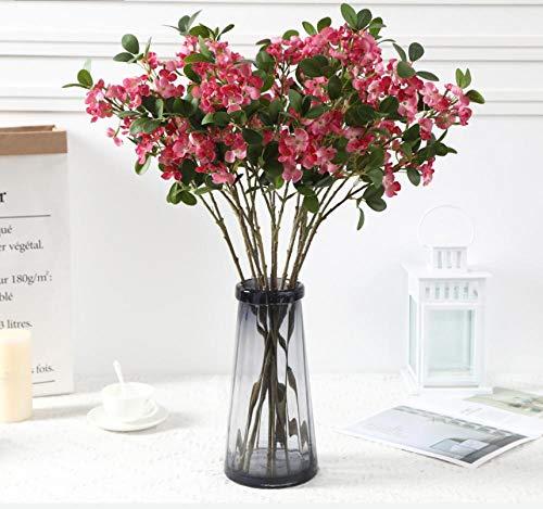 FILWHT flor artificial simulación flor falsa casa oficina jardín patio patio decoración al aire libre 2 árbol tenedor hoja redonda hortensia rojo 5pcs