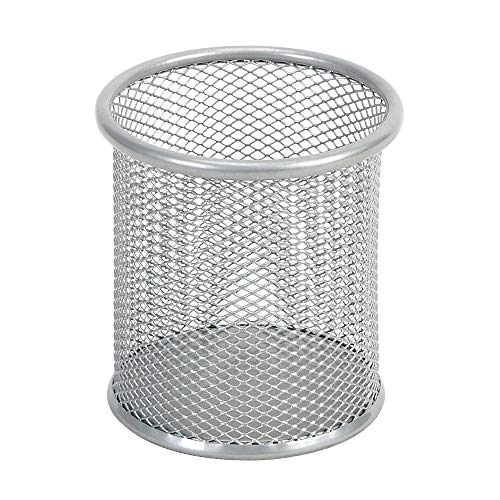 Comix Pencil Holder for Desk, Metal Mesh Round Pen Holder, Desk Organizer for Office Home School, 3.58 x 3.85 Inches, Silver, 1 Count (B2259SL)