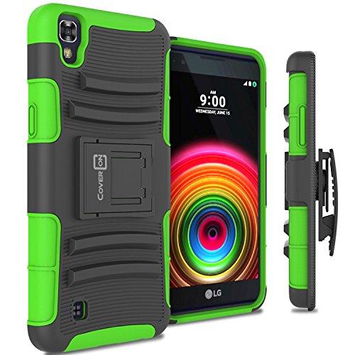 LG X Power Holster Case, CoverON [Explorer Series] Holster Hybrid Belt Clip Hard Phone Cover for LG X Power K210 / K6P Holster Case - Green Neon