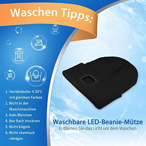 Deilin LED Mütze mit Licht, Beleuchtete Mütze Aufladbar USB für Männer und Frauen, Einstellbare Helligkeit Stirnlampe Winter Beanie Mütze mit Licht, Unisex Winter Wärmer Strickmütze mit Licht - 7