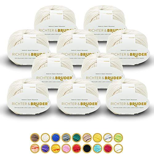 Richter & Bruder Lana para punto y ganchillo, 10 x 50 g/125 m, 100% algodón, color crema