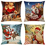 4 Set of-Vintage Christmas Santa Pillow Covers-Santa Claus Pillow Covers, Christmas Sofa, Pillows, Car Cushions, 18'x18' Square Pillow Covers