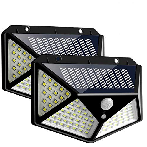 Luz Solar Exterior 100 LED【2 Pack / 3 Modos】con Sensor de Movimiento - Luces LED Solares Exteriores 270º lluminación Exterior Impermeable Lámpara Solar Exterior [Clase de eficiencia energética A+++]