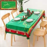 Christmas Printed Fabric Tablecloth,Oil-Proof and Waterproof Rectangle Table Cloth, Durable and...