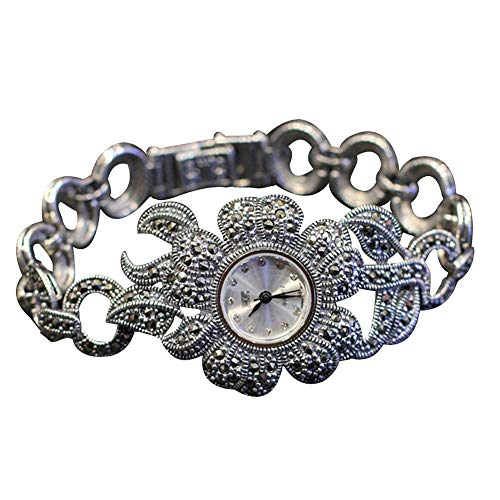 Jade Angel Las mujeres de estilo de la flor pavimentan Marcasite 925 Relojes de pulsera de plata esterlina