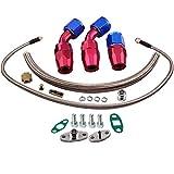 maXpeedingrods Turbo Oil Drain Return + Feed Line kit for T3 T3/T4 T4 T04 GT32 GT40 GT42 GT4088R GT4049R GT42R/RS GT4294R GT4202R T61 T66 T70 Turbocharger
