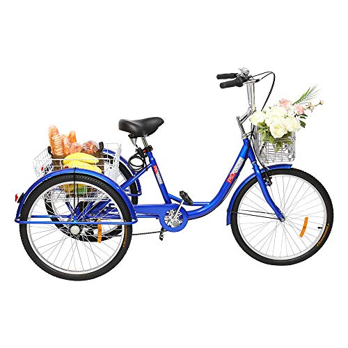 "PEXMOR Adult Tricycle 7 Speed 3 Wheel Trike Bike Cruiser with 26"" Big Wheels Large Front and Rear Basket Hold Vegetables Fruits for Recreation, Shopping, Picnics Exercise Men's Women's Bike"