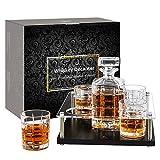 Juego de jarra de whisky de cristal con 4 vasos de whisky para ron, brandy, vino, vodka, 900 ml
