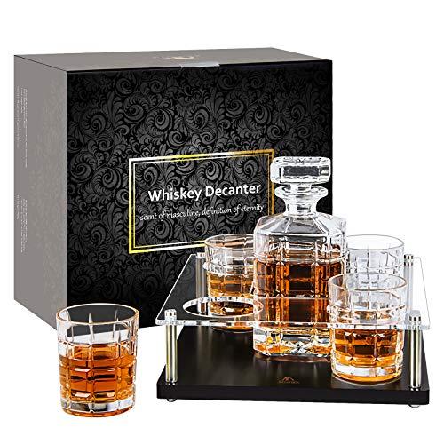 Whisky-Karaffe-Set-Glaskaraffe-whiskey-Gläser-Probierset-Geschenkset Bourbon zubehör wiskey gläßer whisky dekanter mit 4 Whiskeygläsern für Rum Brandy Wein Vodka 900 Milliliter