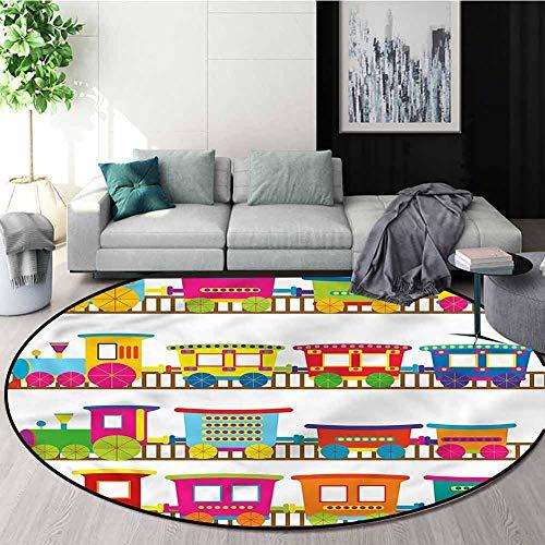 Fantastic Prices! RUGSMAT Train Carpet Gray Round Area Rug,Transportation Vehicle Toys Oriental Floo...