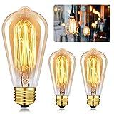 E27 Vintage Edison Bombilla, Bombilla ST64 4W (Equivalente a 40W) Retro Edison Lámpara Ambar Cálido Bombillas Incandescentes para Lluminación y Decoración