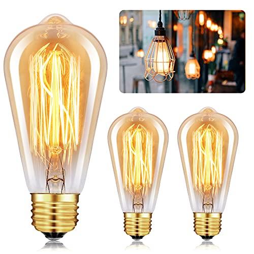 Edison Glühbirne E27,Retro Edison Lampe 40W Warmweiß Dekorative Glühbirne Vintage Antike Glühbirne Antike Lampe Ideal für Nostalgie und Retro Beleuchtung im Haus Café Bar,Amber Warm 3 Stück