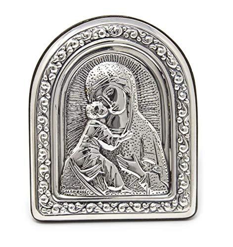 Guerrini Cuadro Icono impresión Sagrada Virgen con Niño en Plata 925 Marco de Madera