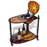 Tidyard Globe Bar Wine Stand Wood Freestanding for Wine Spirits Beverage Stemware