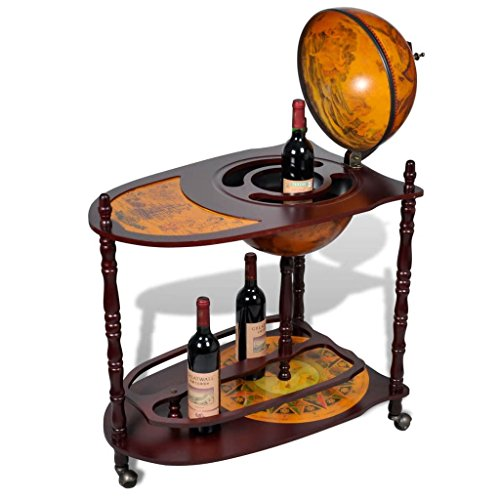 Festnight Globe Bar Wine Cabinet with Bottom Shelf and Wheels Eucalyptus Wood Liquor Holder Freestanding Wine Display Stand Rack for Living Room, Pub, Bistro, Home Furniture Decor