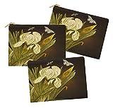 Timingila Chocolate Cafe Floral Bolsa de cosméticos Bolsa de Maquillaje Bolsa de Maquillaje de 3 Paquete de