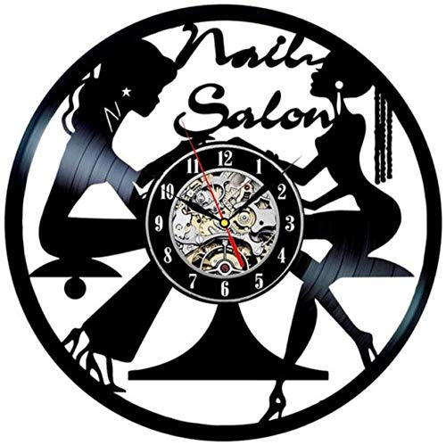 Reloj de pared de vinilo con diseño de uñas, para estudio de manicura, de vinilo, de 30,48 cm