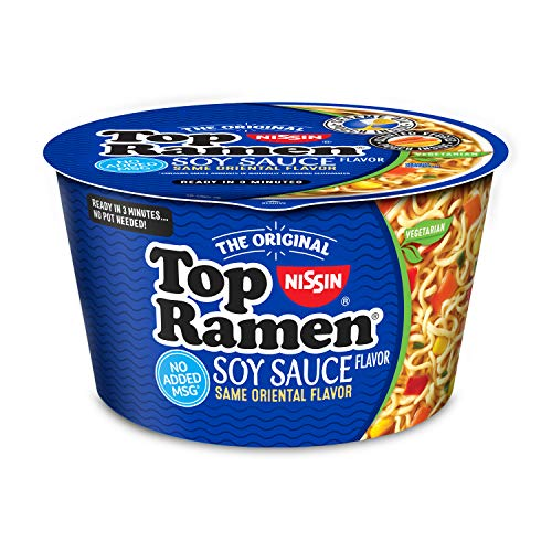 Nissin Top Ramen Bowl, Soy Sauce, 3.17 Ounce (Pack of 6)