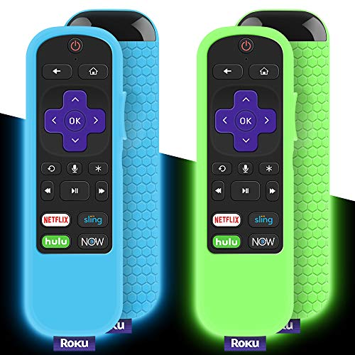 2 Pack Protective Case for TCL Roku TV Steaming Stick 3600R/3800/3900 Remote, Silicone Cover Roku Voice/Express/Premiere Remote Controller Skin, Replacement Sleeve Protector-Glow Green,Glow Blue