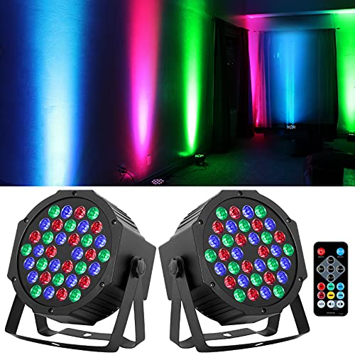 36 LED Stage Lights RGB DJ LED Par Light Remote & DMX Controlled Sound Activated Auto Play Uplights for Wedding Birthday…