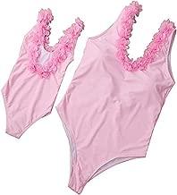 Family Matching Flower Applique Bikini Swimsuit Mommy and Me Bodysuit Beachwear Monokini Swimsuit Bathing Suit