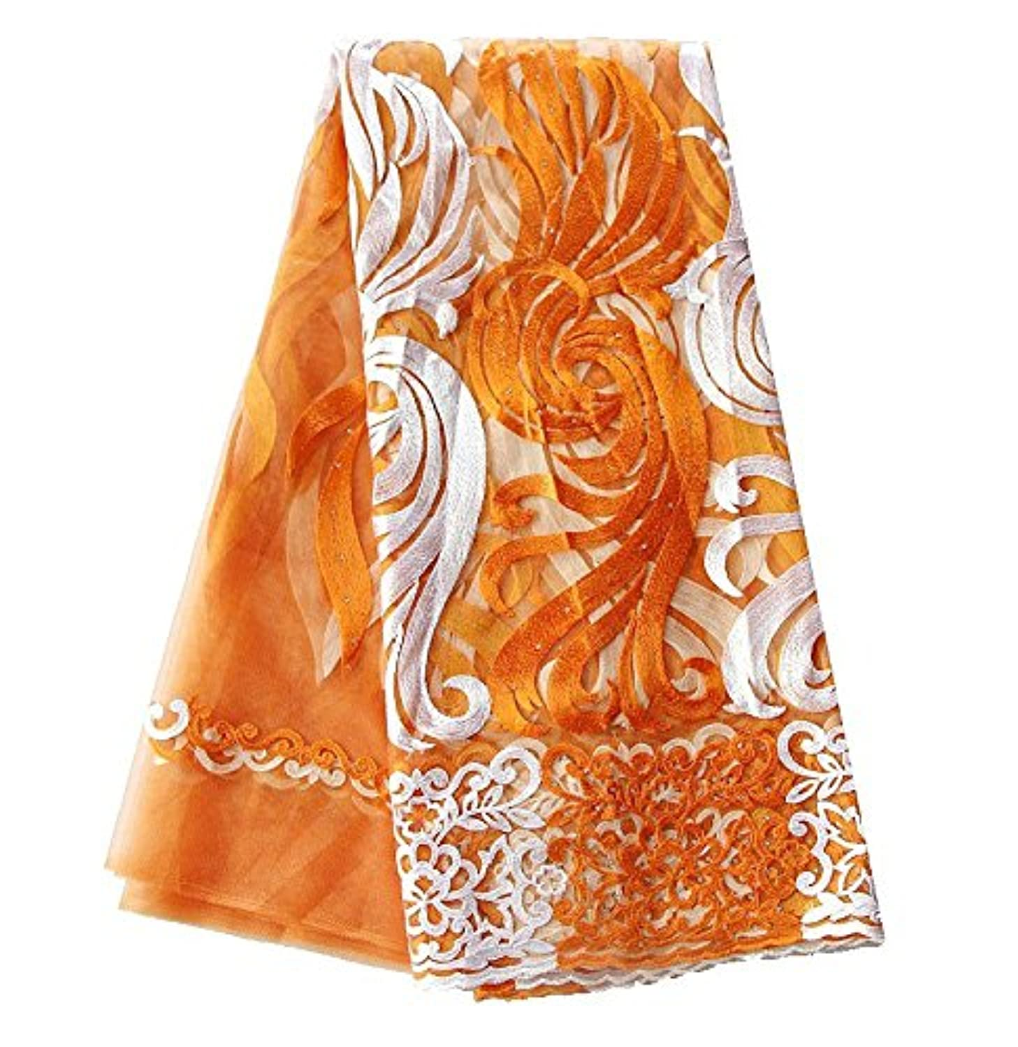 pqdaysun 5 Yards African Net Lace Fabrics Nigerian French Fabric Embroidered and Rhinestones Guipure Cord Lace F50378 (orange)