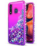 STARSHOP- Moto E 2020 Case, Motorola Moto E 2020 Phone Case, [NOT FIT E2/E4/E5] with [Tempered Glass Protector Included] Liquid Floating Glitter Quicksand Bling with Spot Diamond Cover - Pink/Purple