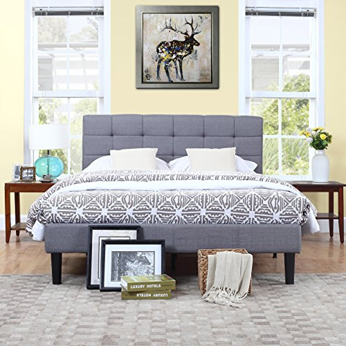 Divano Roma Furniture Classic Deluxe Grey Linen Low Profile Platform Bed Frame with Tufted Headboard Design (King), Gray