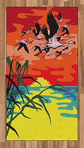 ABAKUHAUS Flamingo Tapijt, Vogels in de lucht Art, vlak Geweven Vloerkleed voor Woonkamer, Slaapkamer, Eetkamer, 80 x 150 cm, Veelkleurig