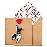 Bigote TC60'todas las ocasiones' premium hecha a mano de perro salchicha con globo de corazón tarjeta