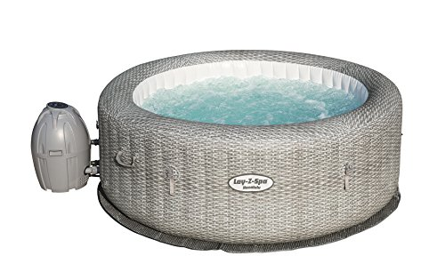 Bestway - Spa gonflable rond motif rotin gris 6...