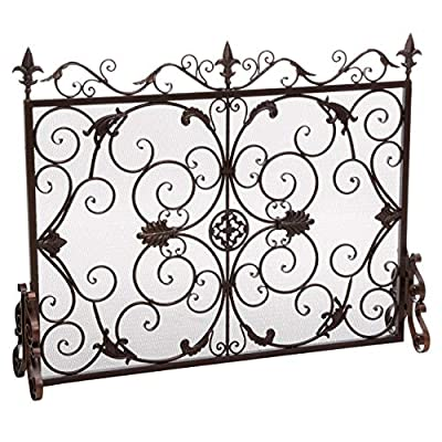 Christopher Knight Home Wilmington Fireplace Screen, Gold Flower On Black from Great Deal Furniture