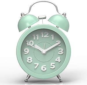 PiLife Mini Classico Sveglia a Doppia Campana con Luce di Notte, Movimento al Quarzo Silenzioso con Lancetta dei Secondi Senza Ticchettio, Sveglie da Viaggio, Stile Rétro, con 2 Campanelle?Verde?