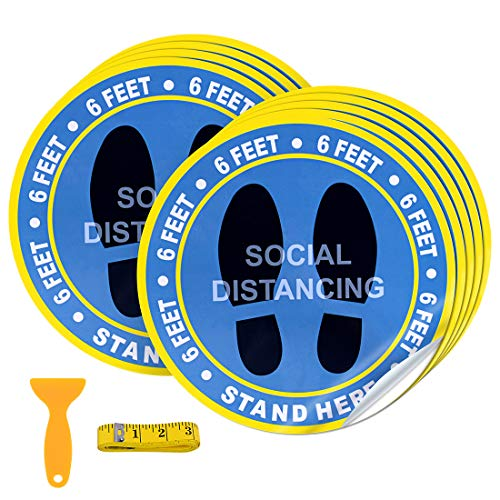 30 Pack 10' Social Distancing Floor Decal Stickers - Blue Stand Decal - Wait Here Sign Safety Distance of 6 Feet Specialized Sticker Markers, for Crowd Control Guidance, Grocery, Pharmacy, Bank, Lab